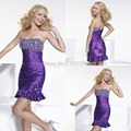 Sex 2015 A-line Sweetheart Purple Sparkly Sheath Taffeta Semi Formal Dress Off The Shoulder Homecoming Dresses