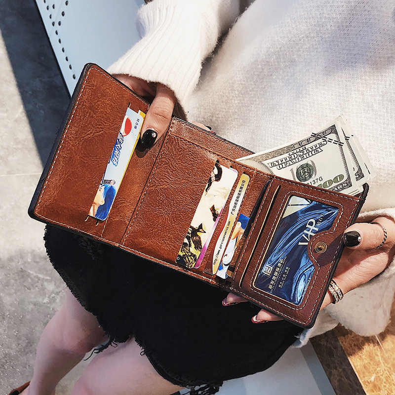 Vintage PU Leather Wallets Women Men High Quality Slim Wallet With Coin Purse Short Style Folding Womens Multi-card Bit Wallet