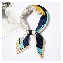 NEW Designer scarfs for women Multicolor stitching printed silk neck scarves fashionable pleated foulard imitated kerchief