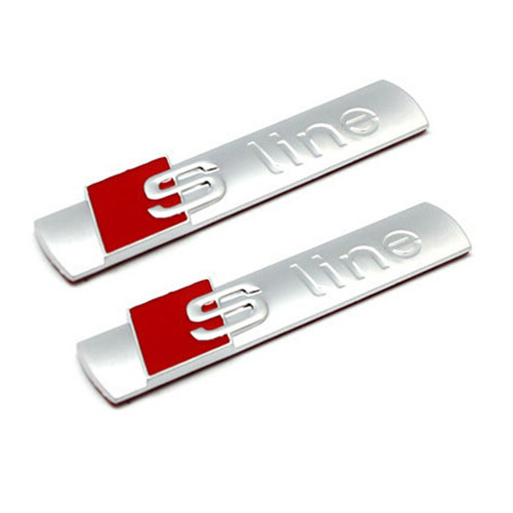 Biurlink 2Pcs Car Sline Sticker S line Stickers Decor for Audi Sline S-line A1 A2 A3 A4 A5 A6 Q1 Q3 Q5 Q7