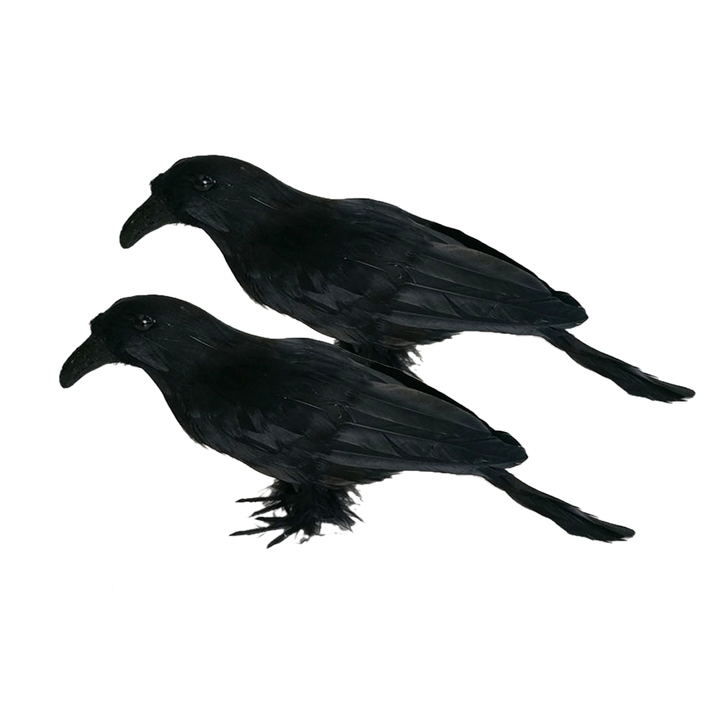 1 set of 2pcs realistic looking halloween decoration birds black feathered crows halloween prop dcor black