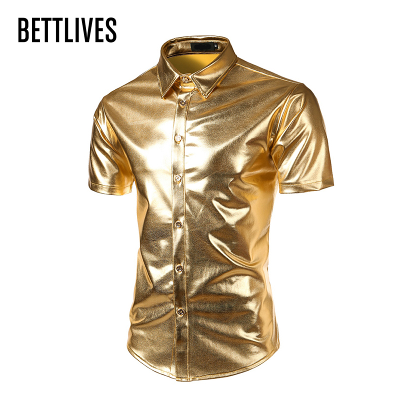 Mens Trend Nightclub Coated Metallic Halloween Gold Silver Button Down Shirts Party Shiny Short Sleeve Dress Shirts For Men A316
