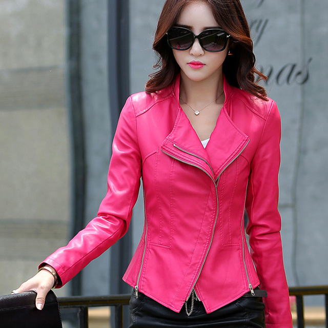 leather jacket women slim Really large raccoon fur collar jacket short casual design motorcycle jacket plus size m-5XL 905 4