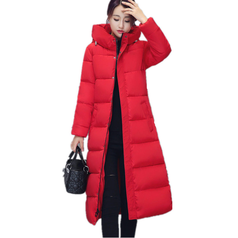 Winter jacket women Coat Hooded Slim Wadded   Parka   Down Cotton Padded Jacket Long Coat Outerwear Long Sleeve Ladies Jacket Q555