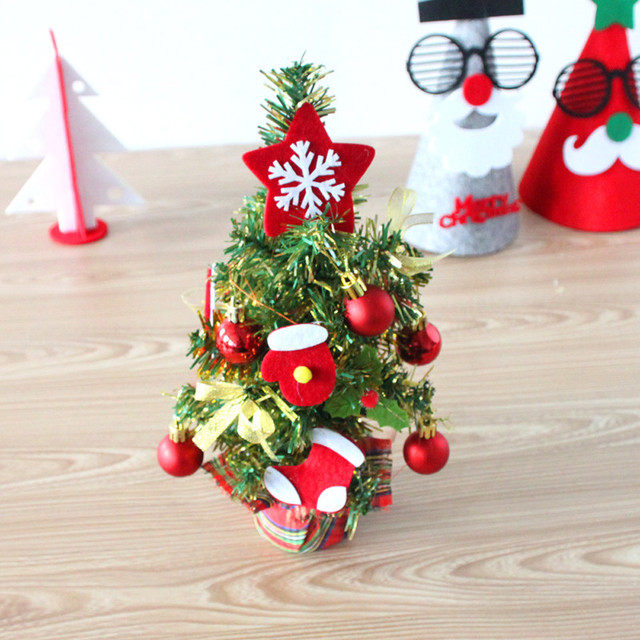 cute resin mini christmas tree multicolor decoration desktop small christmas tree wooden christmas ornaments enfeites natal - Small Christmas Ornaments