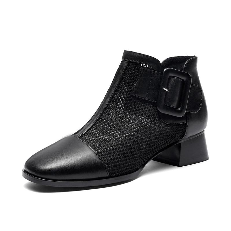 Épais Carré Nouveautés Cuir Chaussures Beige Vache Talons 2019 Pour noir D'été Femmes Bottes Orteil Bottines Taille 34 40 Lapolaka En Femme 0wnPk8O