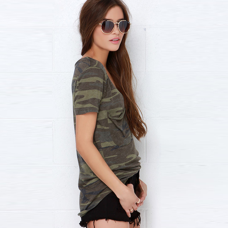 ab2631437d26b High Quality 2016 Army V Brand Camouflage Print T Shirt Women Tops Rivet  Short Sleeves T shirt Sexy Classic Military style Tee-in T-Shirts from  Women's ...