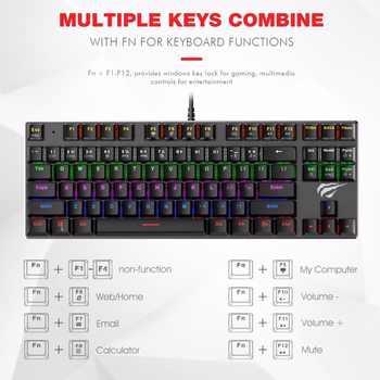 HAVIT Mechanical Keyboard 87 / 104 Keys Blue / Red Switch Wired USB Gaming Keyboard Backlight RU/US Keyboard For Desktop Laptop