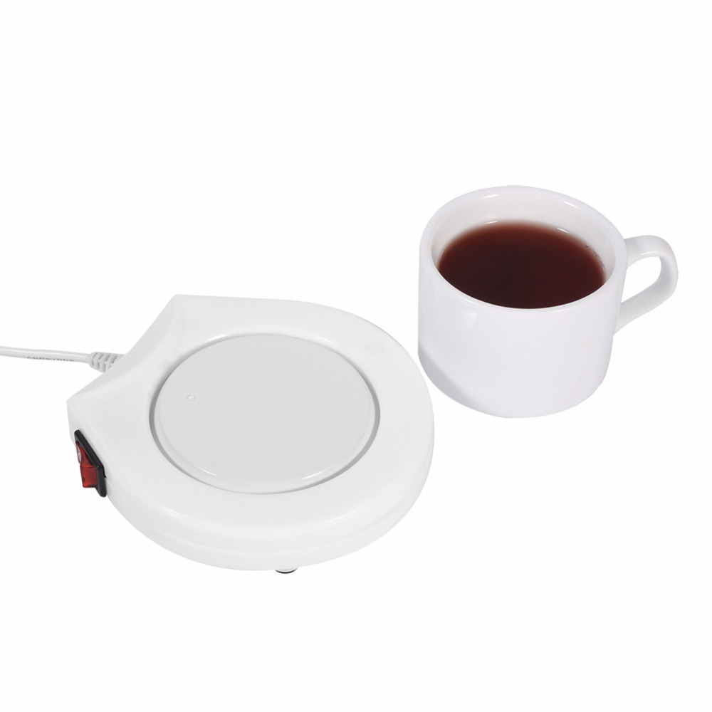 <font><b>White</b></font> Electric Powered Drink <font><b>Cup</b></font> Warmer Pad Coffee Tea Milk Drink Mug Heater Tray For Office House Use <font><b>Warm</b></font> Winter US Plug 110V