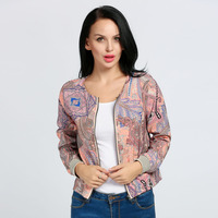 2017 Floral Pattern Jacket Women Lady Fashion European American Print Sport Jackets Women Spring Autumn Small