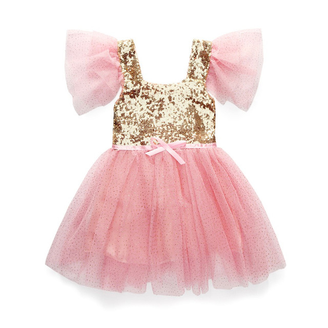 ddd8d09770c6 2019 New Baby Girl Golden Sequin Short Sleeve Tulle Party Dress Children's  Ball Gown Princess Dresses Kids Mesh Clothes