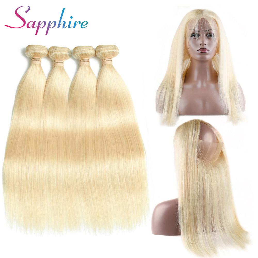 Sapphire Peruvian Straight 100% Human Hair Weave 4 Bundles With 360 Lace Frontal Human Hair For Black Woman Bundle With Closure
