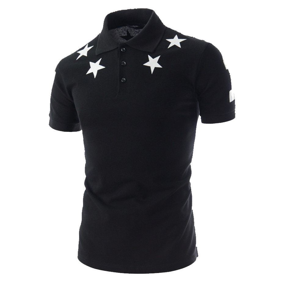 ZOGAA Men Five -Pointed Star Print Silm Fit Summer Fashion Cotton Short Sleeve Tops   Polo   Shirt Plus Size M-2XL