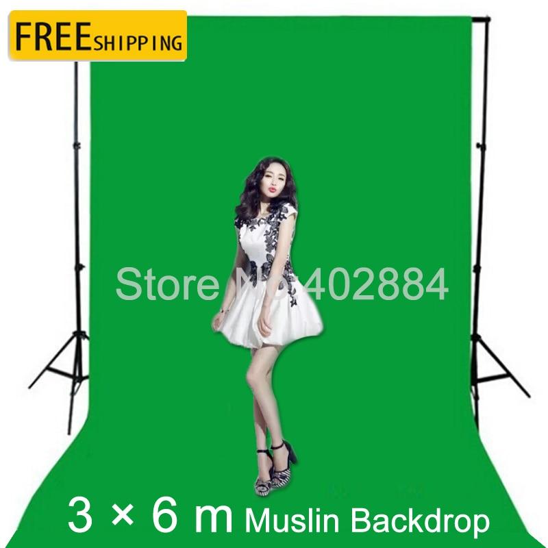 3 * 6 m Pantalla de fondo verde de muselina Muselina Chromakey - Cámara y foto