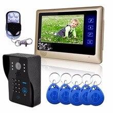 Free Shipping! Wired 7″ Video Door Phone Intercom System RFID Keypad Code Number Doorbell Camera Monitor1000TVL Wireless unlocks