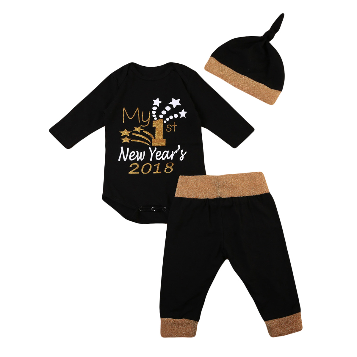 3Pcs/Set 2018 New Year Cute Infant Baby Girl Boy Clothes Set long Sleeve Tops Bodysuit Long Pants Hat Fashion Brief Outfits newborn infant girl boy long sleeve romper floral deer pants baby coming home outfits set clothes