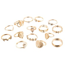 Fashion 15Pcs Bohemia Crystal Finger Rings Set Trendy Gold Joint Knuckle Women Jewelry Accessories 2019
