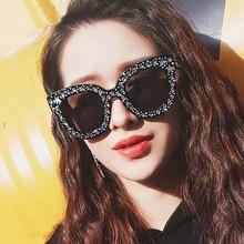MIZHO 2019 Original Brand Celebrity Oversized Square Sunglasses Women  Crystal Mirror Retro Full Star UV400 Sun Glasses Female