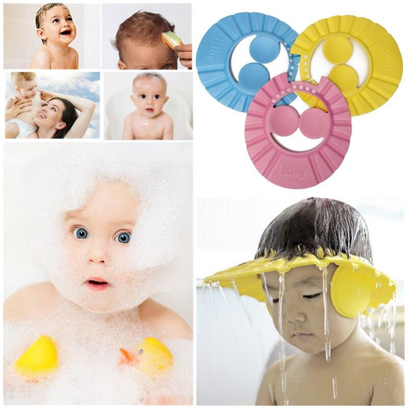 Meilleur Prix Réglable EVA Doux Bébé Infantile Enfant Enfants Shampooing  bain Bonnet De Douche Chapeau Cheveux De Lavage Réglable Protéger Bouclier  Avec