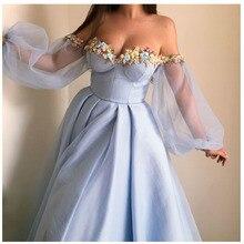 فستان أميرات مكشوف الأكتاف منفوش باللون السماوي