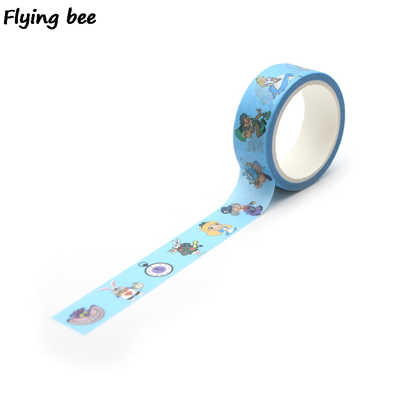 Flyingbee 15mmX5m Cartoon Cute Kids Washi Tape Paper DIY Decorative Adhesive Tape Girls Masking Tapes Supplies X0272 in Office Adhesive Tape from Office School Supplies