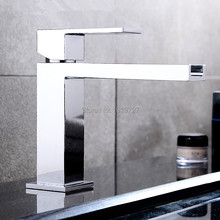 New Luxurious Exclusive Design Unique Shape Square Metal Single Lever Waterfall Faucet Lavatory Wash Wels Bathroom Mixer Tap