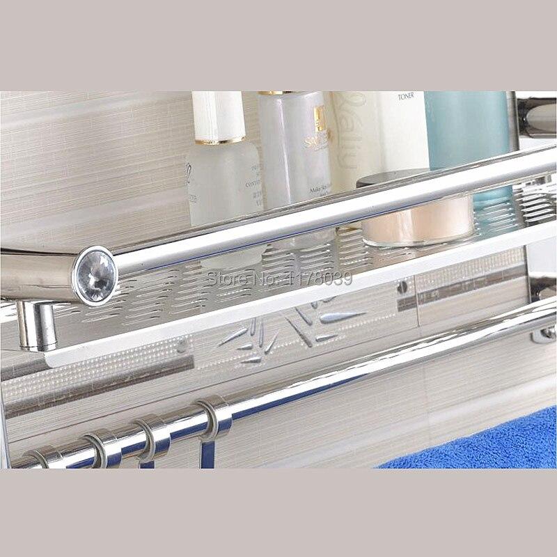 Comprar Montado en la pared doble estante de la toalla de baño, Toalla de baño de acero inoxidable, barras de toalla de baño con ganchos, envío libre J16399 de bar mobile fiable proveedores en Jano Flagship