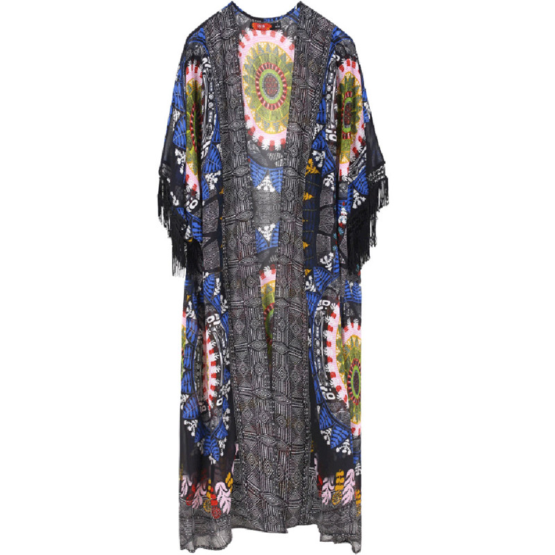 Women Sunscreen Tassel Cover Up Tops Chiffon Long Cardigan Coat Flower Printed