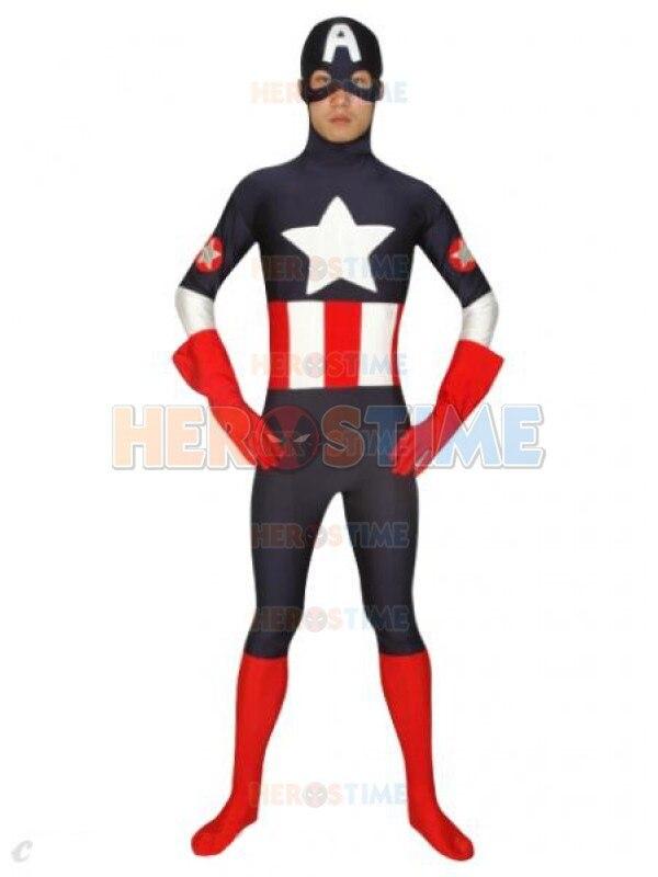 negro spandex superhero captain america traje hombre de halloween cosplay venta caliente fullbody mostrar zentai suit