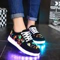 Mulheres led luminoso colorido sapatos mulheres sapatos casuais mulheres sapatos 2017 nova chegou