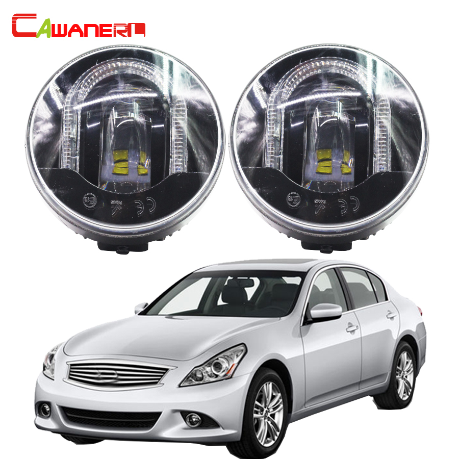Cawanerl 2 X Car LED Fog Light DRL Daytime Running Lamp High Power For Infiniti G37 Sport 3.7L V6 - Gas 2011 2012 2013 cawanerl 2 pieces car styling led fog light daytime running lamp drl 12v for infiniti g37 sport 3 7l v6 gas 2011 2012 2013