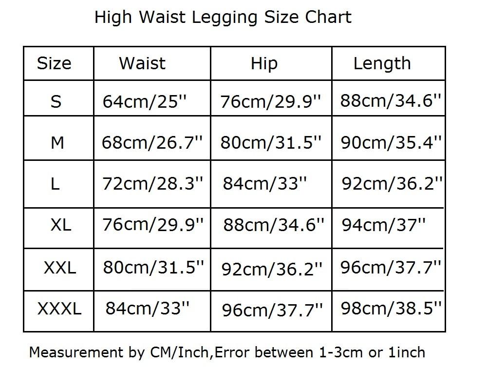 High Waist Legging size chart Production size