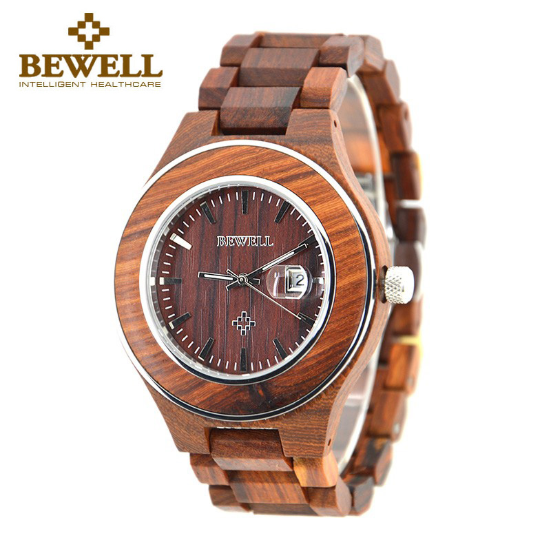 2018 Top Brand BEWELL Natural Handmade Sandalwood Watch for Men Luxury Watches with Calendar Gift with Box Reloj Mujer 100AG цена