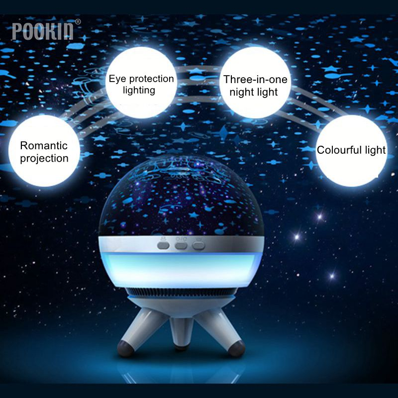 Romantic Rotating Star Projector Night Light LED Ocean Wave Projector Three-In-One Sky Star USB Lamp Lighting one night in spain