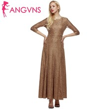 ANGVNS Women Long Formal Dress Elegant Party Office Lady Summer Autumn Robe 3/4 Sleeve Maxi Lace Dresses de feata Sexy Vestidos