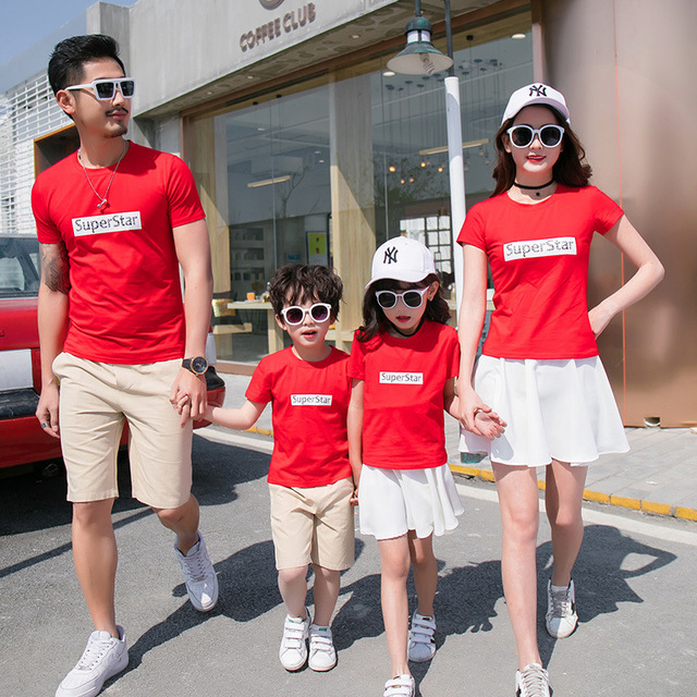 Mother Daughter Dresses Family Matching Tshirt Superstar Fashion Parent  Child Kid Father Son Clothes Family Matching Outfits ed3533ba8a