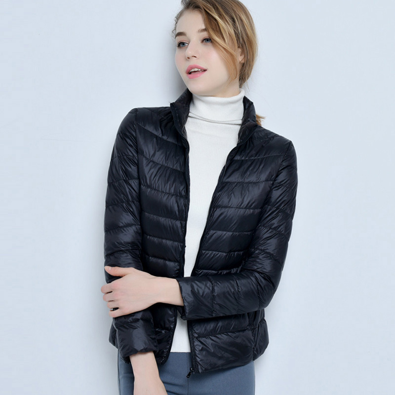Ultra Light Short   Down     Coat   Female Stand Collar Slim White Duck   Down   Jackets Parka 2018 Spring Winter Jackets Plus Size FP0149