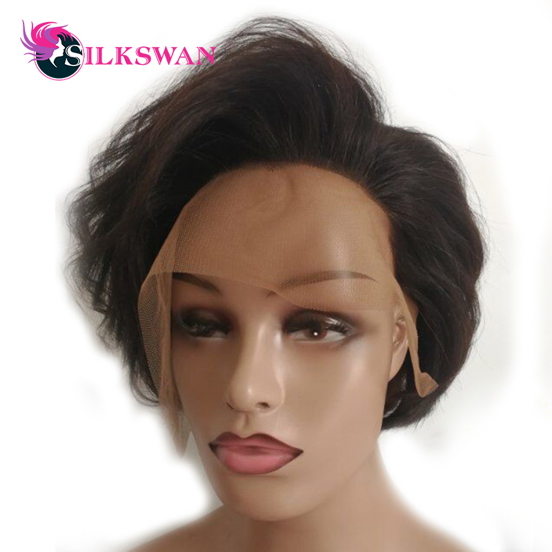 Silkswan Brazilian Hair Natural Wave Short Pixie Cut Wigs 6 150Density For Woman Natural Short Wigs