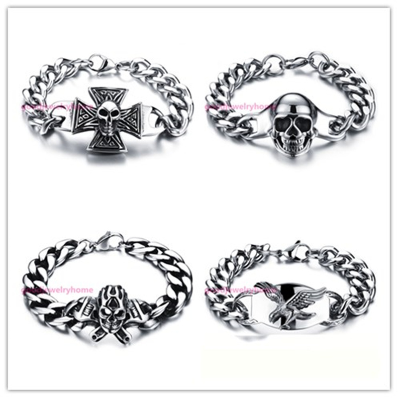 Charming Punk Cool Mens Boys 316L Stainless Steel Skull