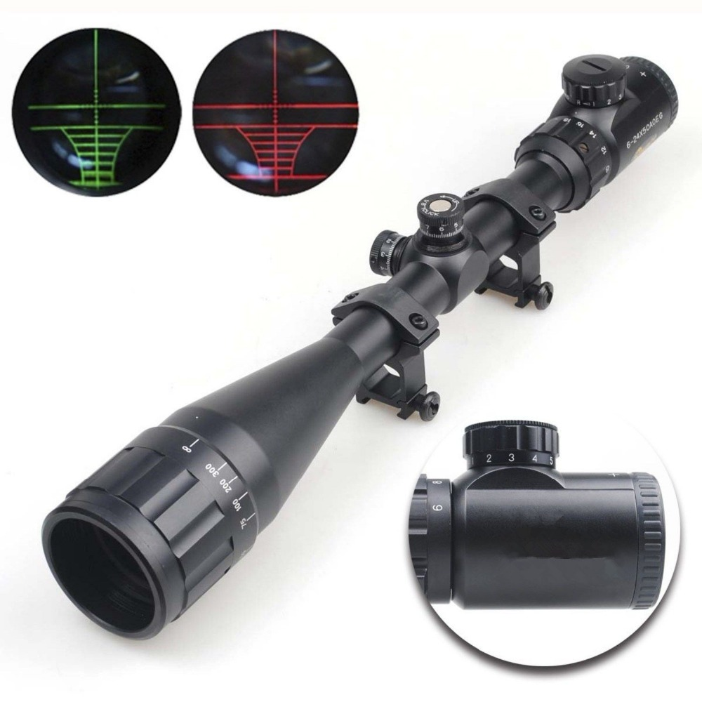6-24x50 AOEG Hunting Riflescopes Green Red Dot Illuminated Reticle Airsoft Rifle Holographic Optical Magnifier Sight Chasse Caza combo 6 24x50 aoeg riflescopes green red dot