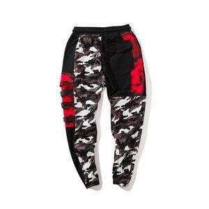 Image 5 - צבע בלוק טלאים Camo מכנסיים אצן גברים של 2018 חדש ירך ירך Streetwear מטען מכנסיים מותג מעצב Hiphop מכנסיים WS172