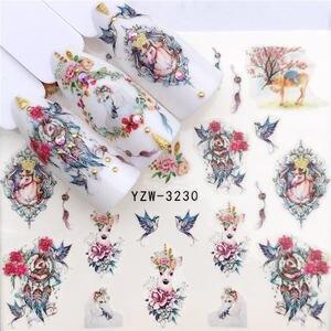 Image 4 - YWK 1 PC kwiat/wzory ze zwierzętami naklejki do transferu wody naklejki ozdobne do paznokci DIY moda okłady przyrządy do manicure i tipsów