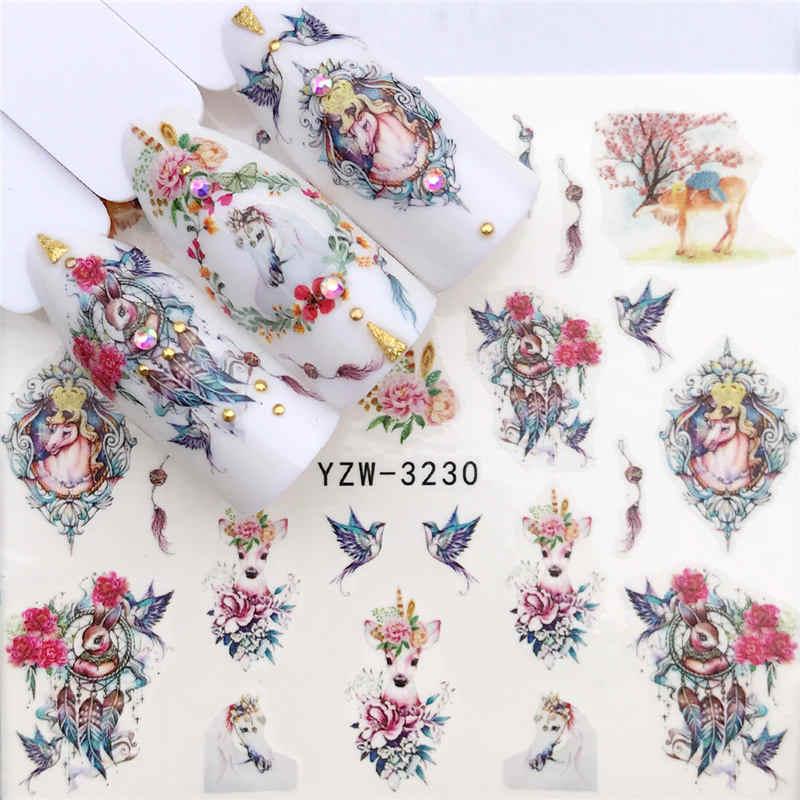 Ywk 1 PC Bunga/Desain Binatang Air Transfer Stiker Kuku Seni Decals Diy Fashion Membungkus Tips Manikur Alat