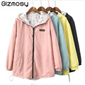Spring Bomber Basic Jacket Women Long Zipper Hooded Coats Two Side Wear Cartoon Print Outwear Loose Plus Size Pocket Tops BN067
