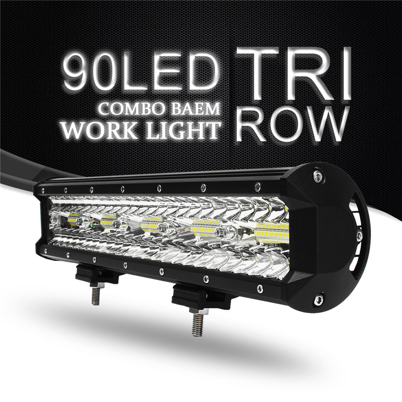 270W 15Inch 90 LED Work Light Bar Flood Spot Combo Driving Lamp Waterproof 6000K LED Work Light For Offroad 4WD SUV ATV Truck 32 inch 1070w 5d curved led work light bar spot flood combo light bar work light offroad driving lamp suv atv car truck