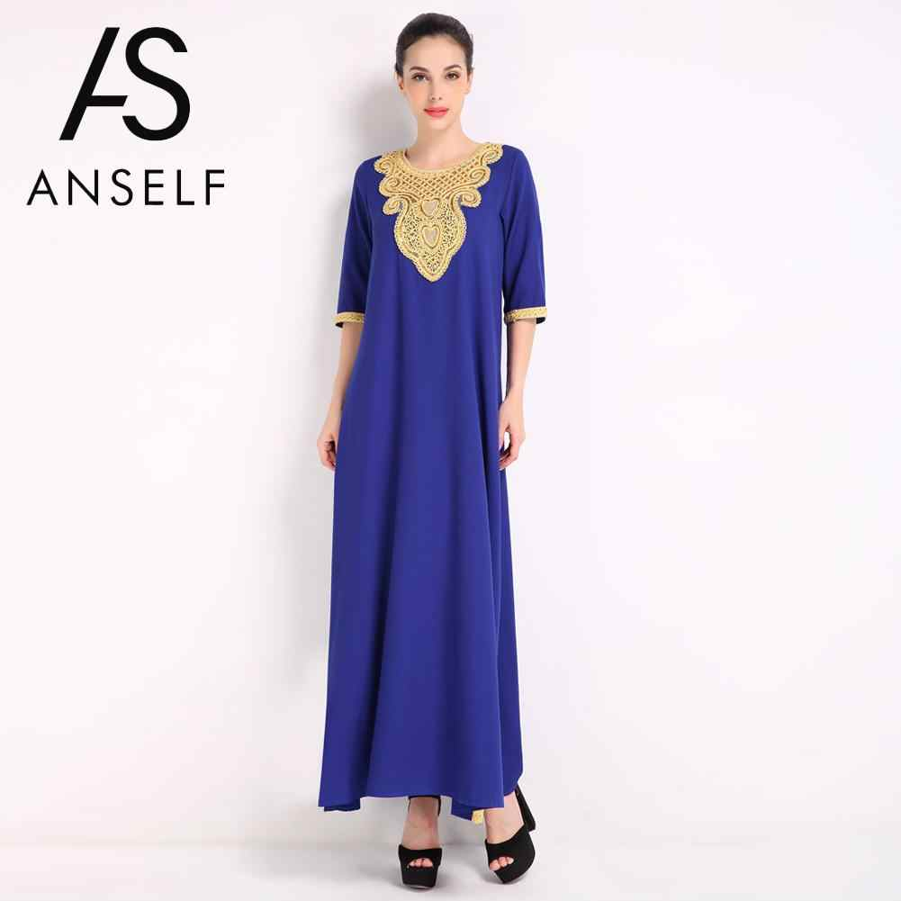 baab237db5 2019 Fashion Elegant Women Muslim Dress Half Sleeve Sequined Split Abaya  Kaftan Islamic Arab Robe Maxi