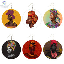 SOMESOOR Vintage Wooden Drop Earrings AFRO Fabric Headwrap Woman Black Art Portrait Printed African Wood Jewelry For Girl Lady