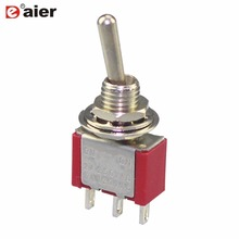 10Pcs MTS-103 Toggle Switch Miniature Switches  6MM 6A 125VAC 3A Amps 250VAC High Quality Red ON-OFF-ON 3 Position SPDT 3-Pins 10pcs 3 pin spdt on on toggle switch 6a 125vac