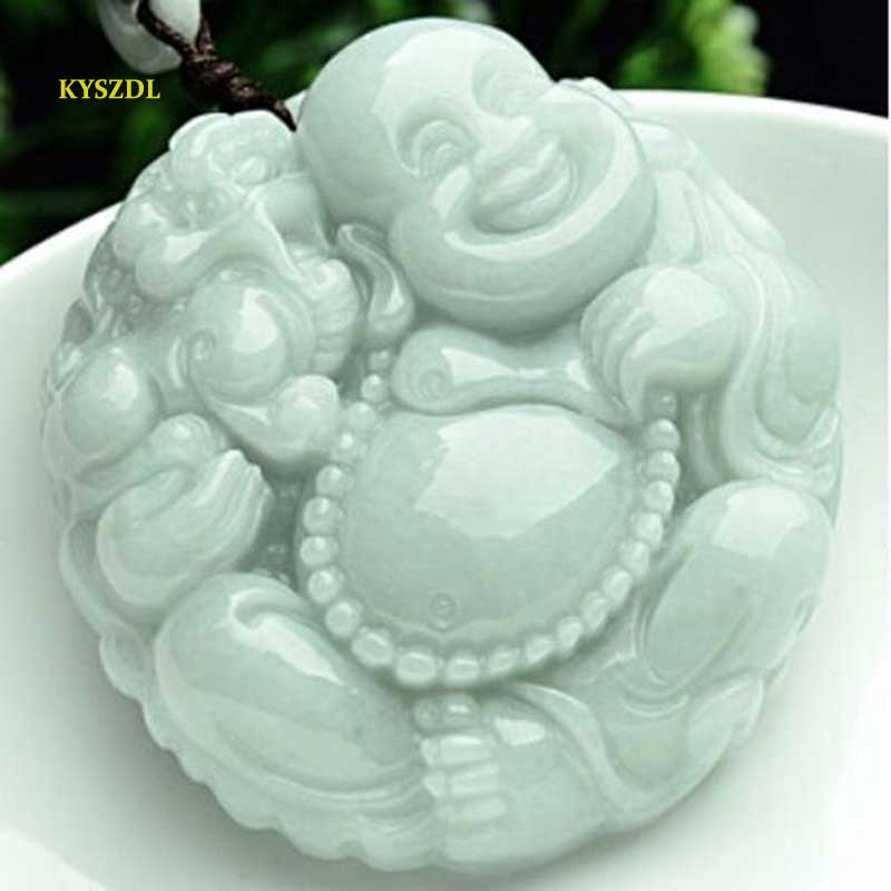 KYSZDL Natural A Grade Emerald jade hand carved Buddha pendants women Lucky necklace pendant Sweater chain