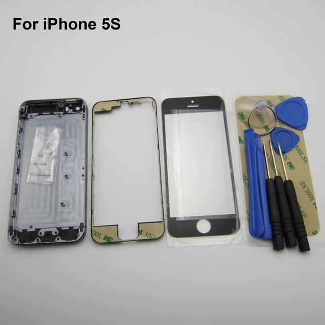 Para iphone 5s cinza metal oriente quadro de volta tampa da caixa de substituição + botão lateral da caixa glass + frente + quadro moldura + OCA + 3 M adesivo